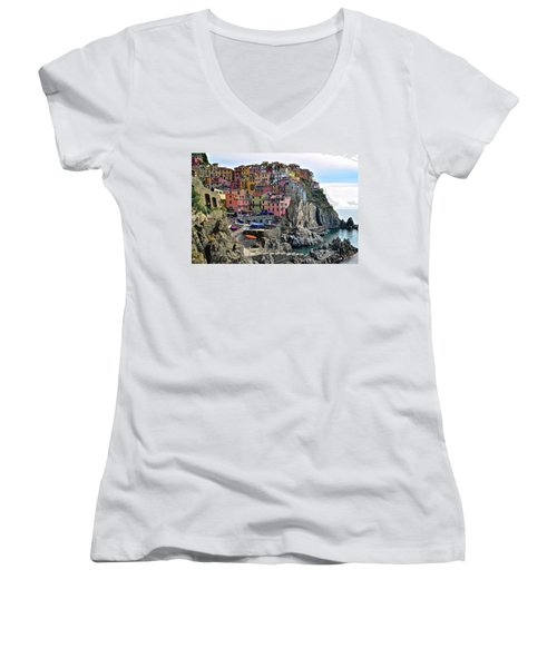 Women's V-Neck T-Shirt (Junior Cut) featuring the photograph Manarola Version Four by Frozen in Time Fine Art Photography