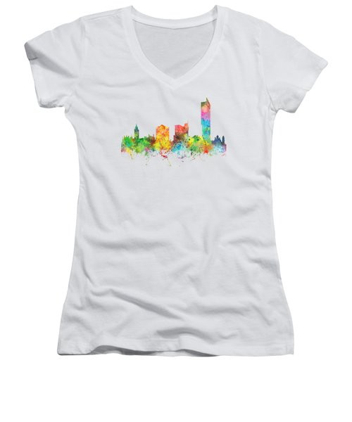 Manchester City Skyline Women's V-Neck T-Shirt (Junior Cut) by Marlene Watson