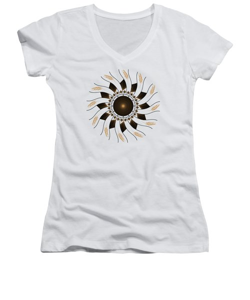 Women's V-Neck T-Shirt featuring the digital art Mandala Black And Gold by Linda Lees