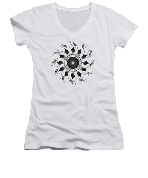 Women's V-Neck T-Shirt featuring the digital art Mandala Black And White by Linda Lees