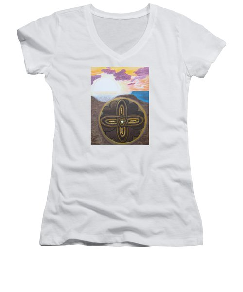 Women's V-Neck T-Shirt (Junior Cut) featuring the painting Mandala In The Sand by Cheryl Bailey