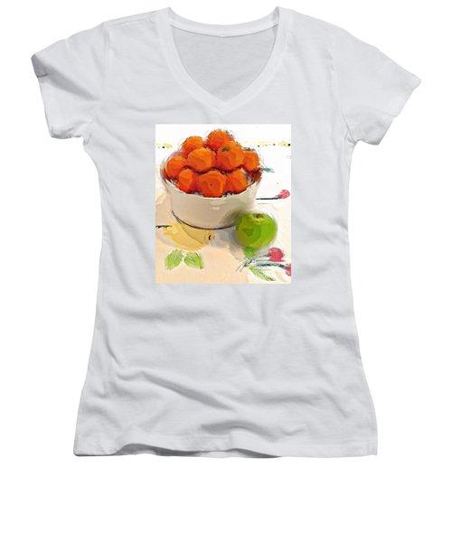 Mandarin With Apple Women's V-Neck T-Shirt