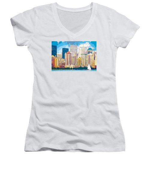 Manhattan Skyline New York City Women's V-Neck