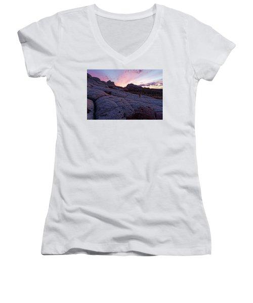 Women's V-Neck T-Shirt (Junior Cut) featuring the photograph Man's Best Friend Sunset by Jonathan Davison