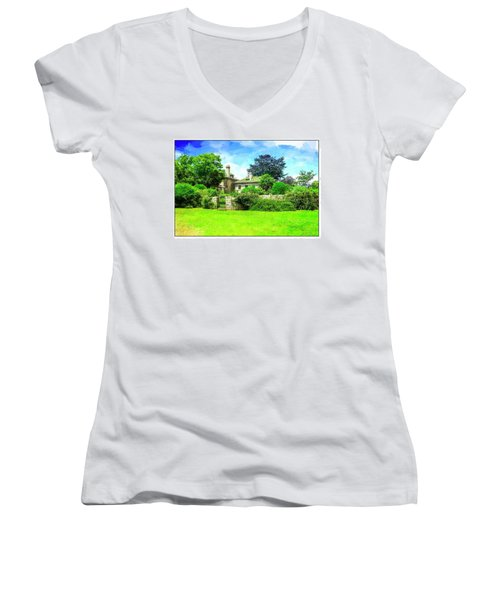 Mansion And Gardens At Harkness Park. Women's V-Neck