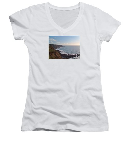 Mansley Cliff And Gull Rock From Longpeak Women's V-Neck T-Shirt