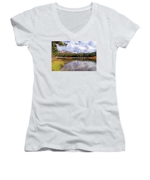 Manzanita Lake - Mount Lassen Women's V-Neck T-Shirt (Junior Cut) by James Eddy