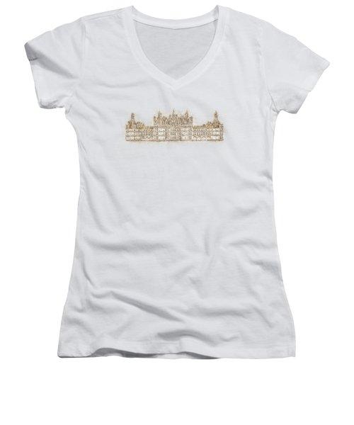 Map Of The Castle Chambord Women's V-Neck T-Shirt (Junior Cut) by Anton Kalinichev