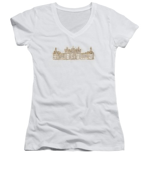 Map Of The Castle Chambord Women's V-Neck (Athletic Fit)