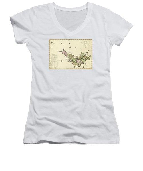 Map Of Saint Barts 1801 Women's V-Neck