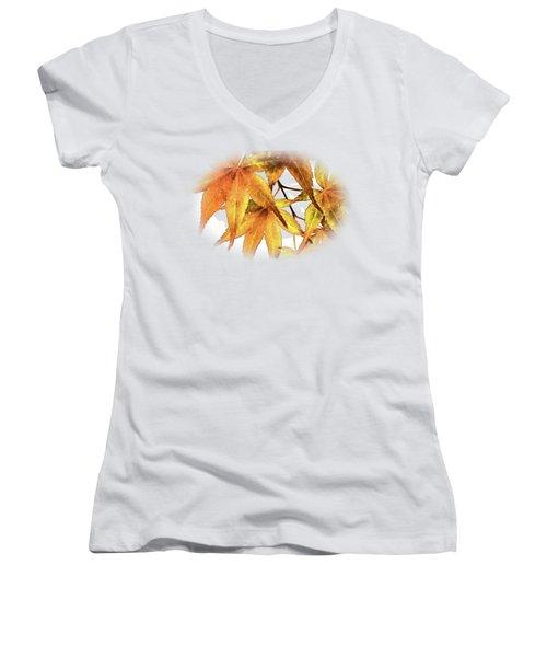 Maple Leaves Women's V-Neck T-Shirt (Junior Cut) by Barry Jones