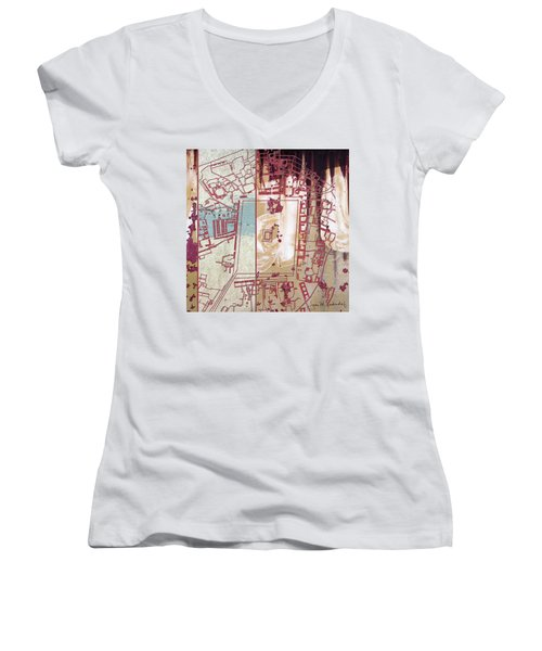 Maps #27 Women's V-Neck T-Shirt (Junior Cut) by Joan Ladendorf
