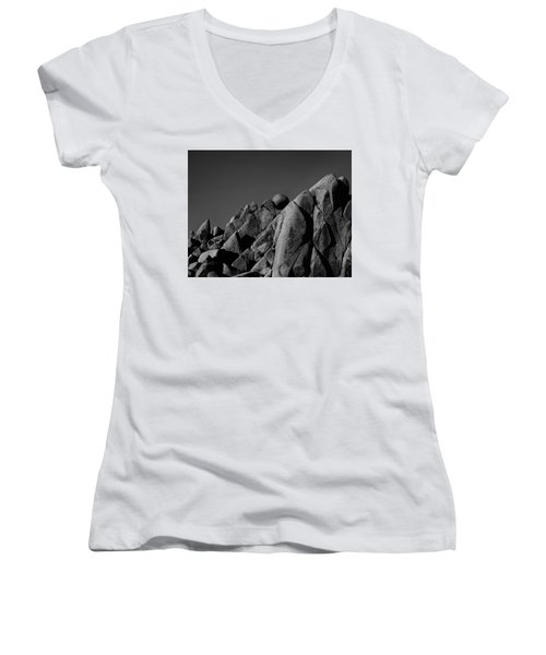 Marble Rock Formation B And W Version Women's V-Neck