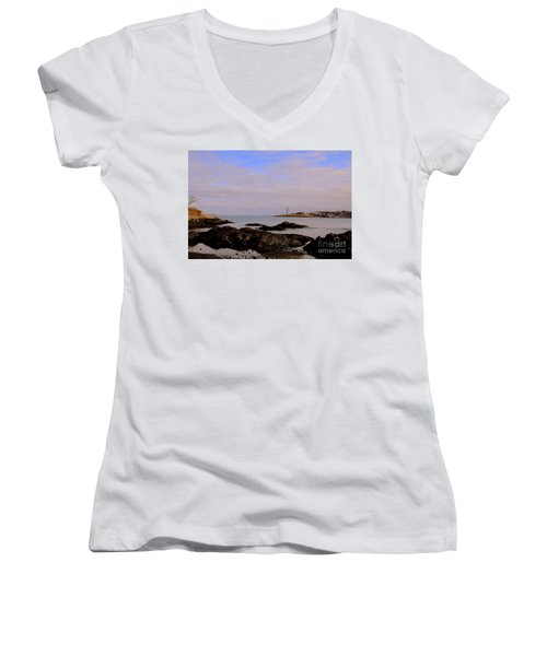 Marblehead Harbor And Light Women's V-Neck (Athletic Fit)