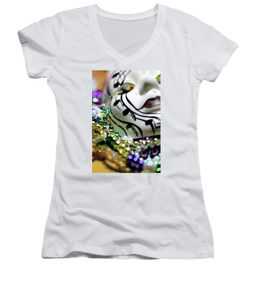 Mardi Gras I Women's V-Neck T-Shirt (Junior Cut) by Trish Mistric