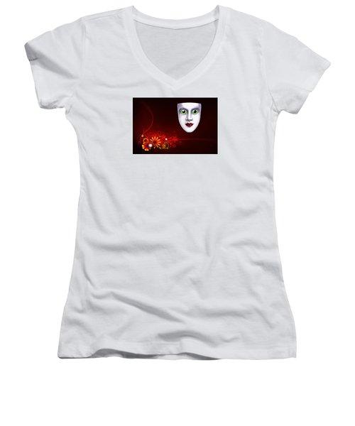 Mardi Gras Mask Red Vines Women's V-Neck T-Shirt