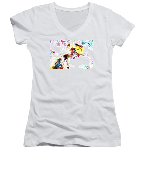 Maria Sharapova Paint Splatter 4p                 Women's V-Neck T-Shirt (Junior Cut) by Brian Reaves
