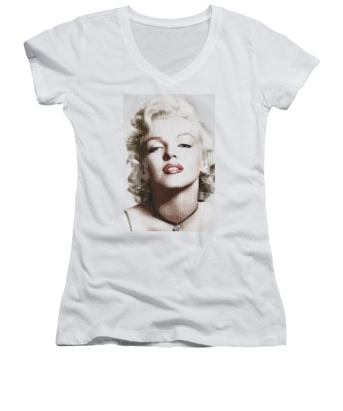 Marilyn Monroe - Colored Verticals Women's V-Neck T-Shirt (Junior Cut) by Samuel Majcen
