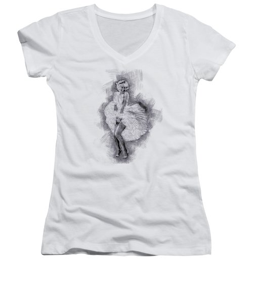 Marilyn Monroe Portrait 03 Women's V-Neck T-Shirt (Junior Cut) by Pablo Romero