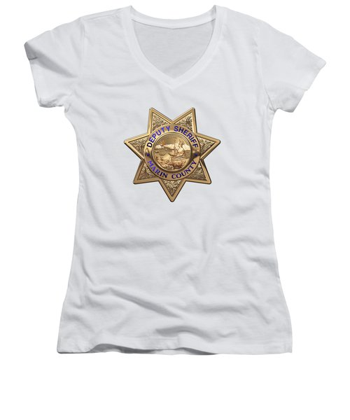 Women's V-Neck T-Shirt (Junior Cut) featuring the digital art Marin County Sheriff Department - Deputy Sheriff Badge Over White Leather by Serge Averbukh