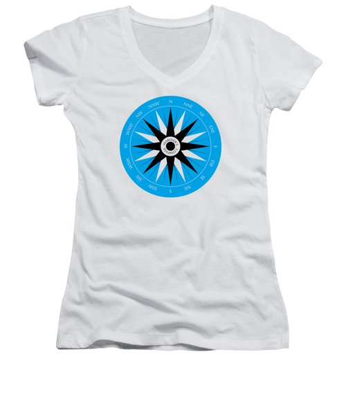 Mariner's Compass Women's V-Neck T-Shirt (Junior Cut) by Frank Tschakert
