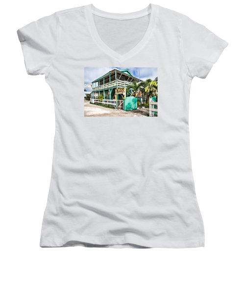 Women's V-Neck T-Shirt (Junior Cut) featuring the photograph Marin's On Caye Caulker by Lawrence Burry