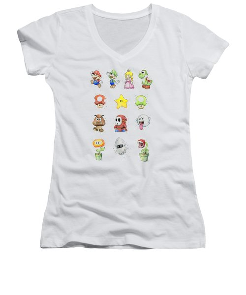 Mario Characters In Watercolor Women's V-Neck T-Shirt