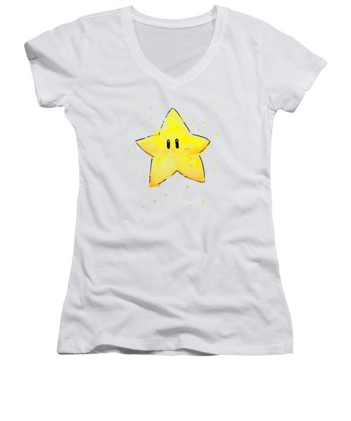 Mario Invincibility Star Watercolor Women's V-Neck