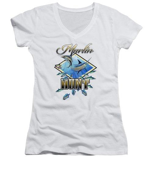 Marlin Hunt 2 Women's V-Neck T-Shirt