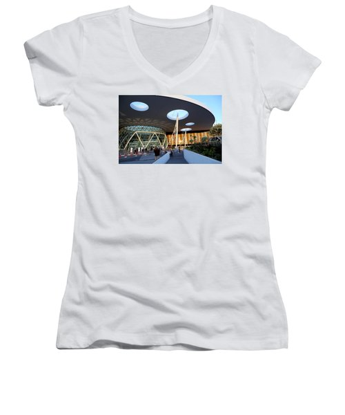 Women's V-Neck T-Shirt (Junior Cut) featuring the photograph Marrakech Airport 2 by Andrew Fare