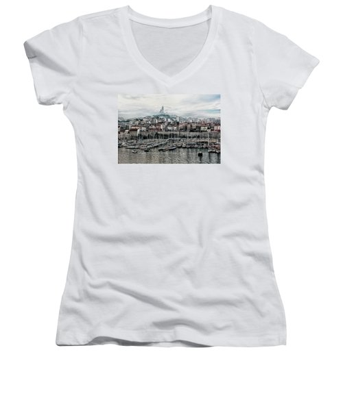 Marseilles France Harbor Women's V-Neck T-Shirt (Junior Cut) by Alan Toepfer