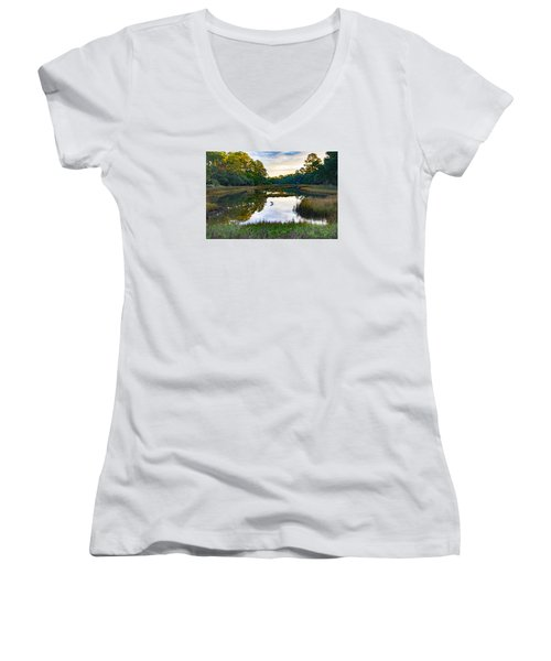 Women's V-Neck T-Shirt (Junior Cut) featuring the photograph Marsh In The Morning by Patricia Schaefer