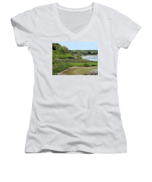 Women's V-Neck T-Shirt (Junior Cut) featuring the photograph Marshlands by Cathy Harper