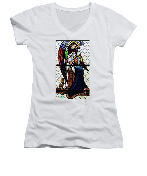 Mary And The Angel Gabriel Women's V-Neck T-Shirt (Junior Cut) by Debby Pueschel