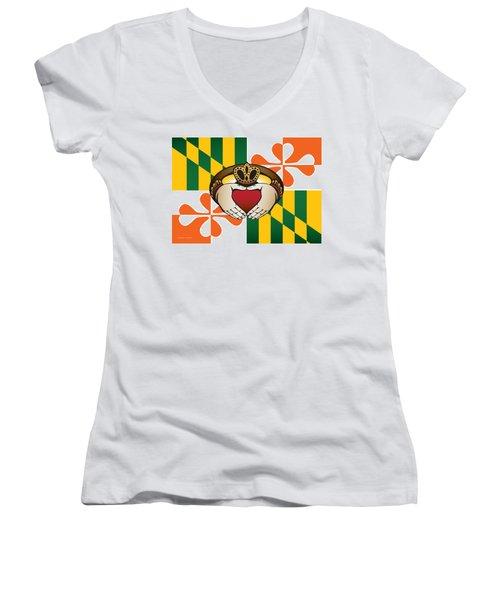 Maryland Irish Claddagh Art Women's V-Neck (Athletic Fit)