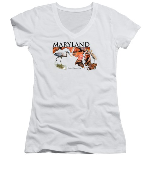Maryland - The Land Of Pleasant Living Women's V-Neck T-Shirt