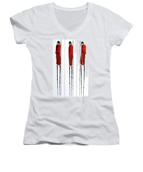 Masai Warrior Triptych - Original Artwork Women's V-Neck (Athletic Fit)