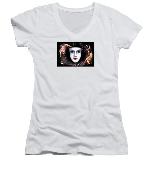 Women's V-Neck T-Shirt (Junior Cut) featuring the photograph Mask And Vines by Gary Crockett