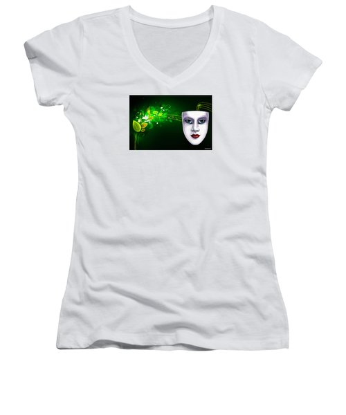 Mask Blue Eyes On Green Vines Women's V-Neck T-Shirt