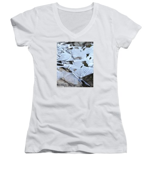Women's V-Neck T-Shirt (Junior Cut) featuring the photograph Ice Mask Abstract by Glenn Gordon