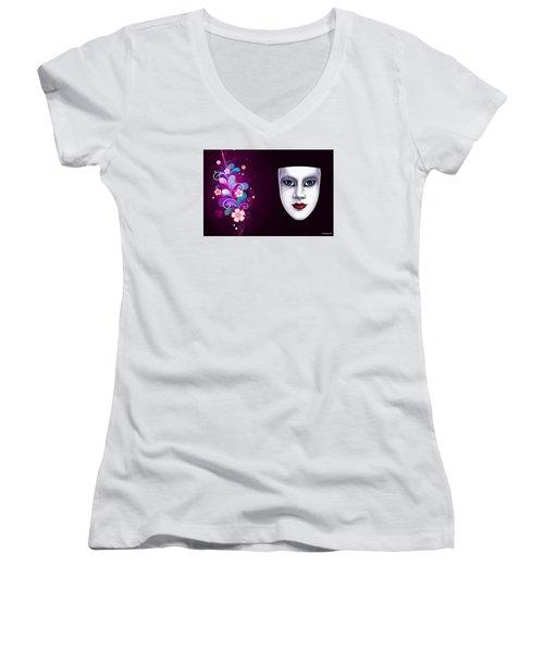 Mask With Blue Eyes Floral Design Women's V-Neck T-Shirt