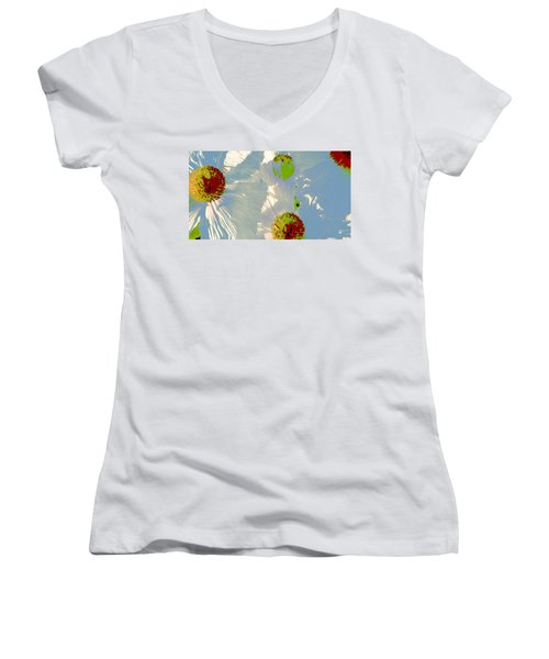Women's V-Neck T-Shirt (Junior Cut) featuring the photograph Matilija Poppies Pop Art by Ben and Raisa Gertsberg