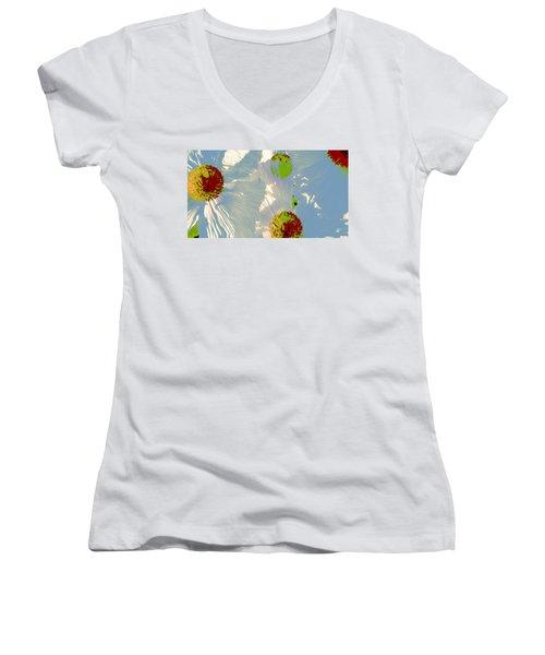 Matilija Poppies Pop Art Women's V-Neck T-Shirt (Junior Cut) by Ben and Raisa Gertsberg