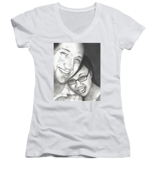 Women's V-Neck T-Shirt (Junior Cut) featuring the drawing Matt And Jasmine by AC Williams