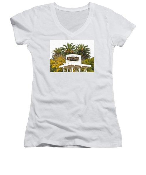 Women's V-Neck T-Shirt (Junior Cut) featuring the photograph Matties Tavern Los Olivos California by Floyd Snyder