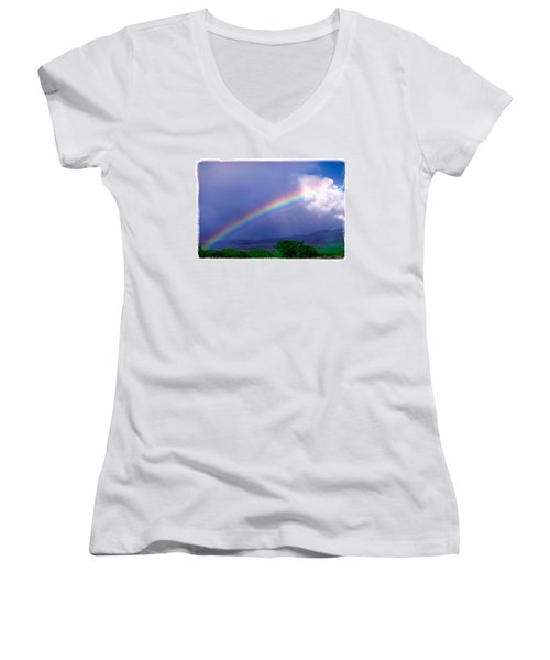 Women's V-Neck T-Shirt (Junior Cut) featuring the photograph Maui Rainbow by Marie Hicks