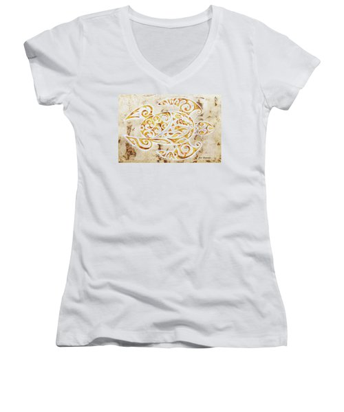 Women's V-Neck T-Shirt (Junior Cut) featuring the painting Mayan Turtle by J- J- Espinoza