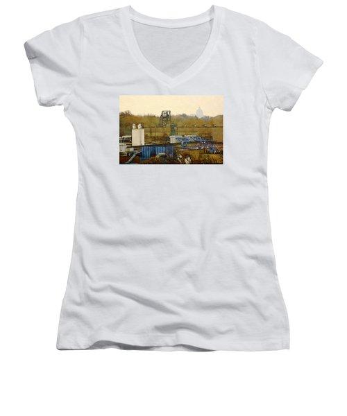 Maynard Steel Women's V-Neck T-Shirt (Junior Cut) by David Blank