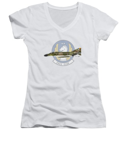 Mcdonnell Douglas F-4d Phantom II Hill Women's V-Neck T-Shirt (Junior Cut) by Arthur Eggers