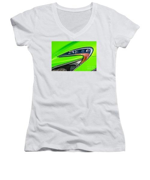 Mclaren P1 Headlight Women's V-Neck T-Shirt (Junior Cut) by Aloha Art